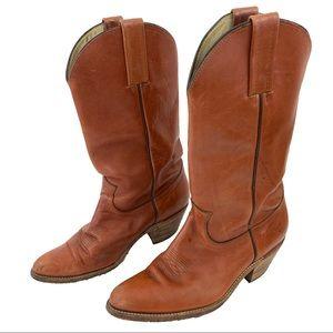 Vintage Frye Cognac Leather Cowboy Boots 10.5